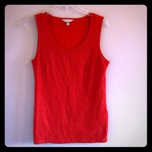 Banana Republic red orange eyelet tank top